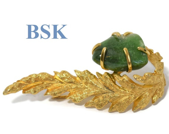 BSK leaf brooch, figural leaf pin mottled serpentine gemstone, brushed gold , gold plated, finely detailed