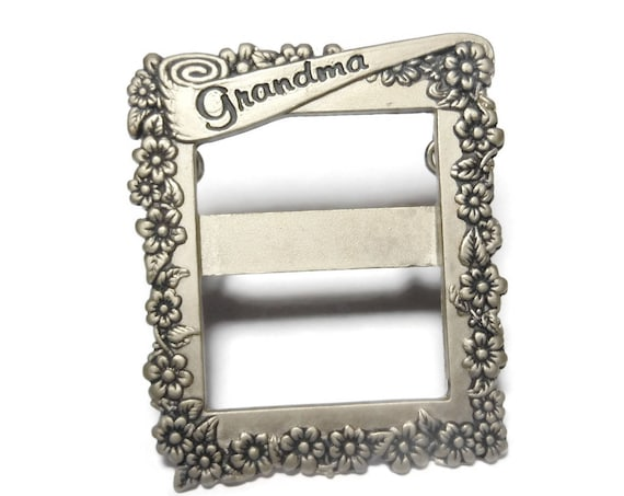 Grandma brooch standing picture frame, Grandma on pennant on frame of flowers, floral stand on table or wear, NOS