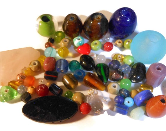 Mixed lot glass and ceramic beads, 6 ounces glass ceramic, jewelry making destash, beading
