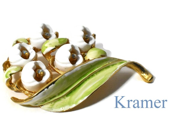 Kramer floral brooch, rare Lily of the Valley, white-bell shaped enamel flowers, Aurora Borealis (AB) rhinestones, green leaf with gold vein