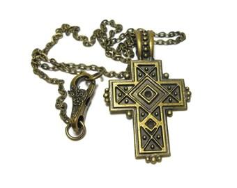 Cross pendant handmade, antiqued bronze cross, medieval cross pendant, unisex cross pendant, antiqued bronze chain hinged bail, 3 available