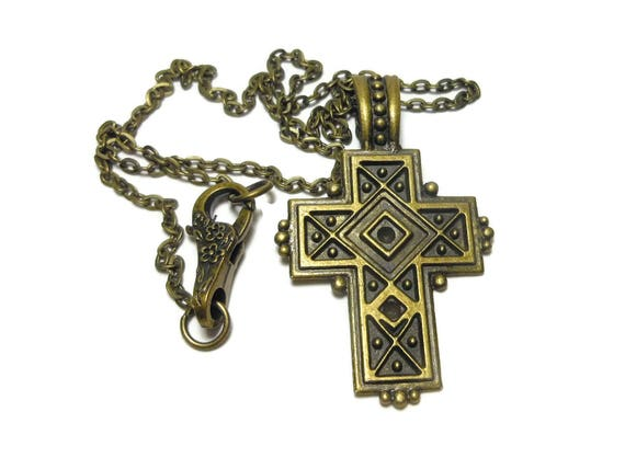 Cross pendant handmade, antiqued bronze cross, medieval cross pendant, unisex cross pendant, antiqued bronze chain hinged bail
