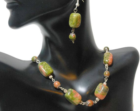 Unakite gemstone necklace and earrings, green and pink, handmade sterling silver and Unakite wire wrapped necklace and french wire earrings