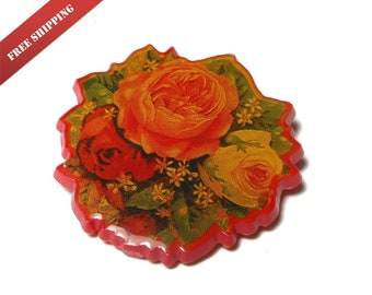 Hallmark floral pin, orange red and yellow roses on red background, decoupage look, 1989