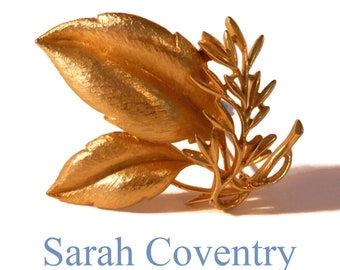 Sarah Coventry leaf brooch, large gold leaves with twig, signed Sarah Cov, 1960s 'Sea Whispers'