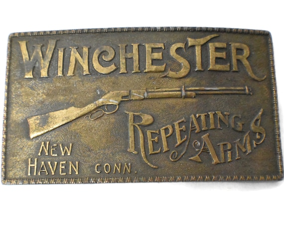 Winchester Repeating Arms belt buckle, New Haven Bergamot Brass works, brass western belt buckle, rifle gun hunting NRA, collectable 70s