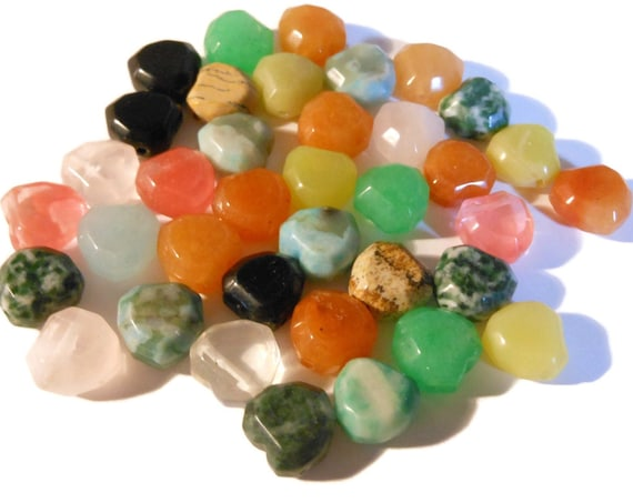 "Multi-gemstone heart beads, B grade, side drilled, can be tree agate, sea ""opal"" glass, red aventurine and more, originally strung 15 to 16'"