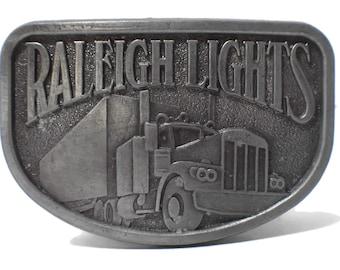 Raleigh Lights belt buckle, pewter western belt buckle, antiqued look, trucker belt buckle vintage, signed RJ, 18 wheeler, cigarette ad