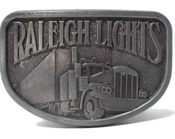Raleigh Lights belt buckle, pewter western belt buckle, antiqued look, trucker belt buckle vintage, signed RJ, 18 wheeler, cigarette ad