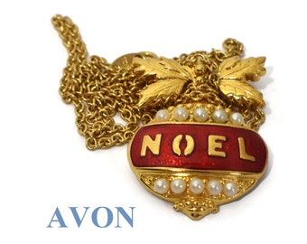 Joyous Noel Pendant 1994 Vintage Book Piece, Christmas ornament, NOEL in gold letters on red glitter enamel with faux pearl decoration
