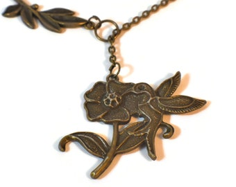Hummingbird flower and leaf necklace, multiple looks, antiqued bronze, y or lariat necklace,  adjustable drop pendant, chain, handmade