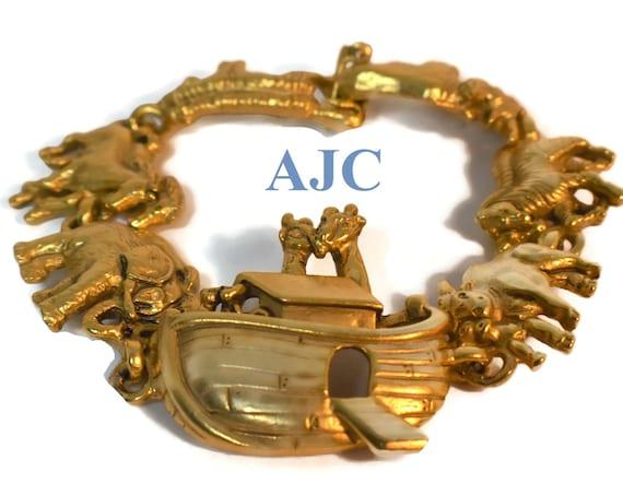 AJC Noah's Ark charm bracelet, animals, bull cow zebras tigers horses elephants hippopotamus giraffes, gold plated designer link bracelet