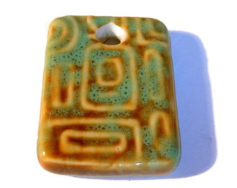 Porcelain Pendant, honey and green, 34x25mm rectangle, focal drop ceramic geometric necklace
