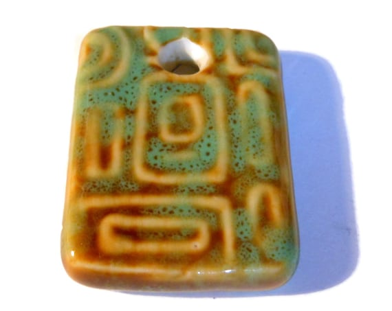 Porcelain Pendant, honey and green, 34x25mm rectangle, focal drop ceramic geometric necklace