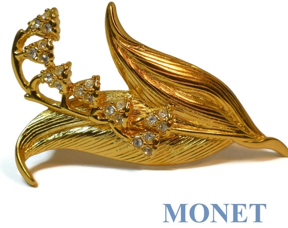 Monet floral brooch, Monet lily of the valley pin with clear rhinestones intricately veined leaves and gold plated rhinestone flowers