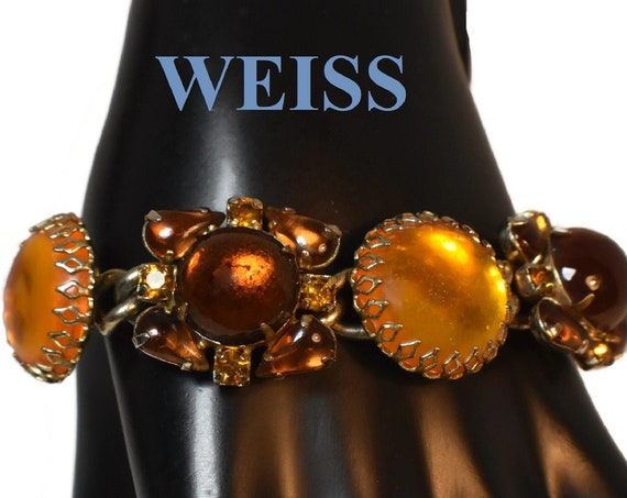 Weiss rhinestone and glass link bracelet, amber and butterscotch glass prong-set cabochons, with rhinestones and AB rhinestones at ends
