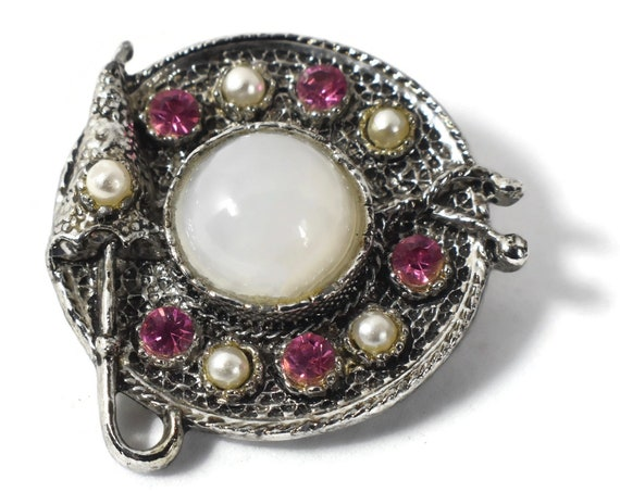 Straw hat brooch pin with umbrella, opalescent cabochon center, seed pearls and open back rhinestones to let light through