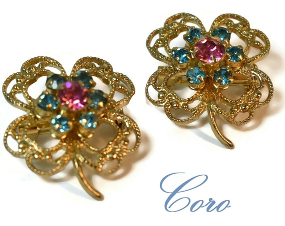 Coro shamrock scatter pins, rare gold filigree three-leaf clovers with turquoise and pink faceted rhinestone centers, tie tacks pins, 1940s
