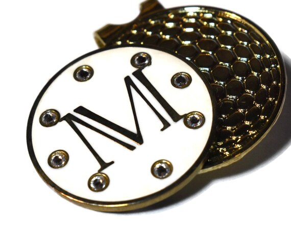Golf ball marker, magnetic rhinestone studded initial M ladies golf ball marker hat clip, signed John Tate for Golf Design