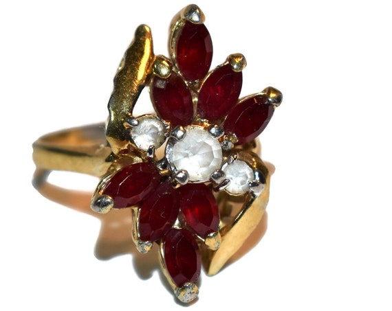 Faux Ruby and cubic zirconia ring, 14KT heavy gold electroplate, faceted gemstone ring, tight size 9, great pointer finger ring