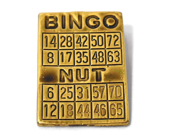 Bingo brooch, antiqued bingo card pin, Bingo nut, Bingo card with numbers on it, gold plated