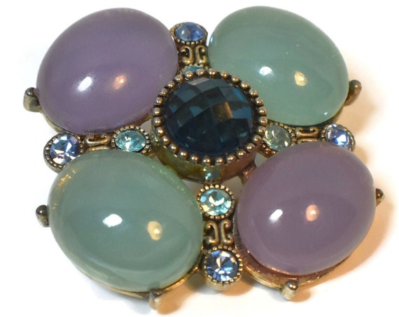 Large glass cabochons brooch pendant, green and purple glass cabochons with a blue faceted one in the center,  blue rhinestones in-between