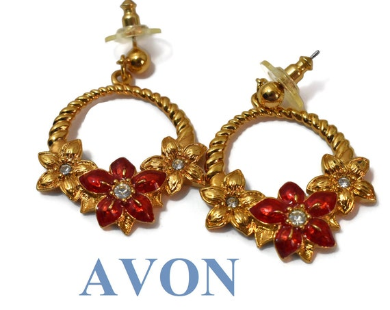 Avon Poinsettia earrings, Red gold poinsettias, gold circle rope frame studs, clear rhinestone centers, Holiday Christmas Chinese wedding
