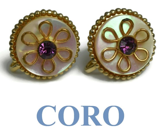 Coro floral earrings, screw back gold wire petals, purple amethyst rhinestone center on circle of mother of pearl (MOP) with a gold frame