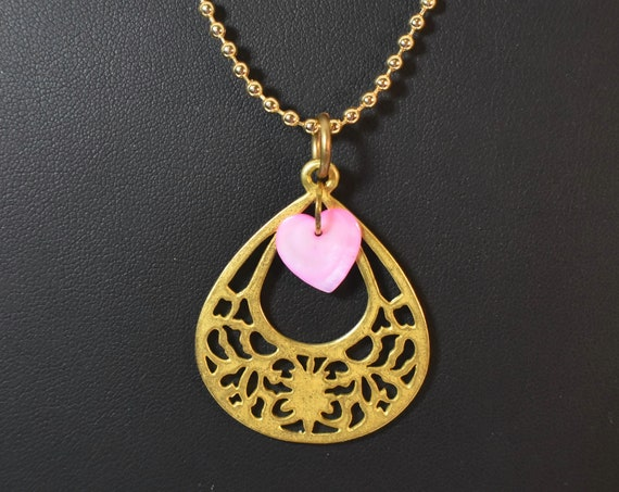 Gold open teardrop necklace, cutout design, mother of pearl hearts, gold plated french hooks, pink mop
