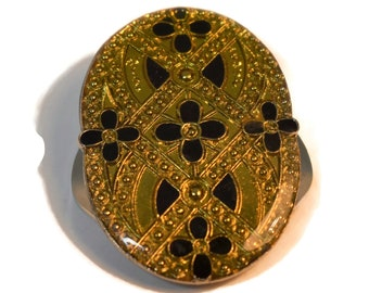 Art Deco scarf ring, geometric patterns in gold and black faux marcasite black onyx lacquer coated scarf slide, damascene like, sweater clip
