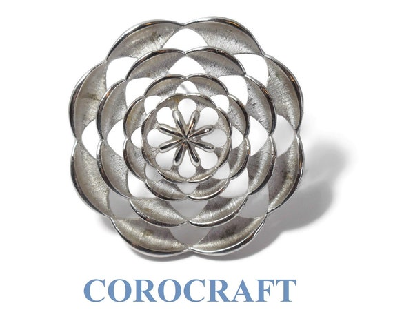 Corocraft modernist brooch, 1960s geometric cut out circles in round brush and glossy textured brooch, mod floral design, rare
