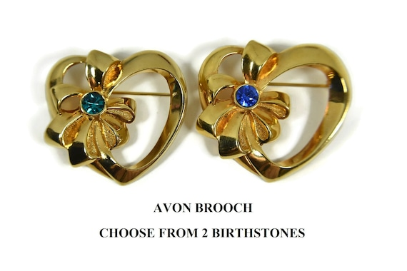 Avon heart brooch, Ribbon Bow, Heart Gold Tone,  Faux gemstone pin, price for one either Emerald May or September Sapphire birthstone heart