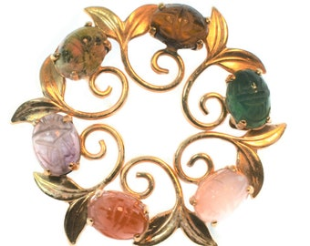 Curtis Creations scarab brooch with leaves, gemstone circle pin popular 1950s & 60s, signed 1/20 12K GF and a CC mark, gold filled