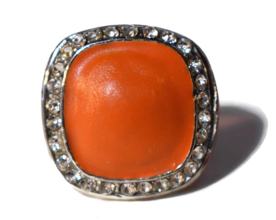 Orange scarf ring, orange enamel cabochon surrounded by pave rhinestones, silver tone,  scarf slide, sweater clip, vintage bold