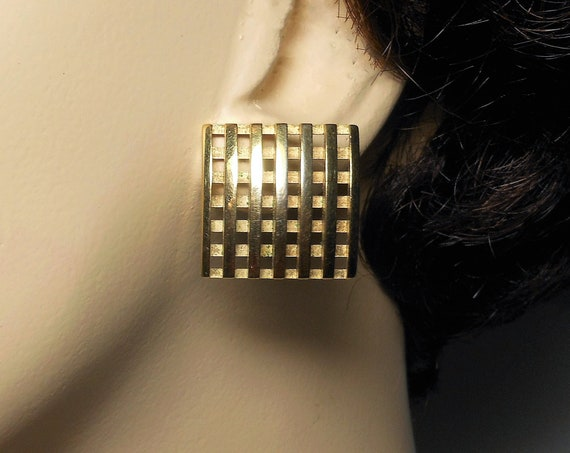Avon checkerboard earrings, square post earrings, waffle square earrings, gold finished studs