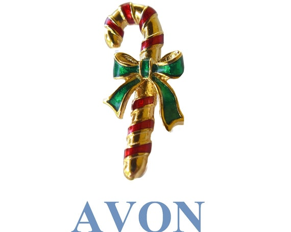 Avon candy cane pin, red and gold striped enamel with a green enamel bow. 1980s brooch, tie tack, tie pin, lapel pin, hat pin
