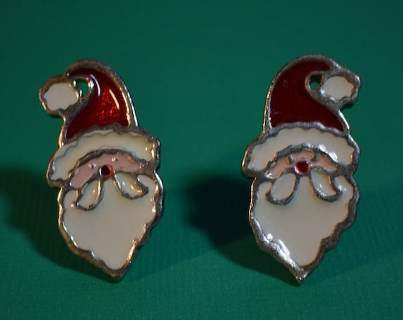 Santa earrings, enamel Santa Claus, holiday mid century, Christmas studs, red and white, gold trim