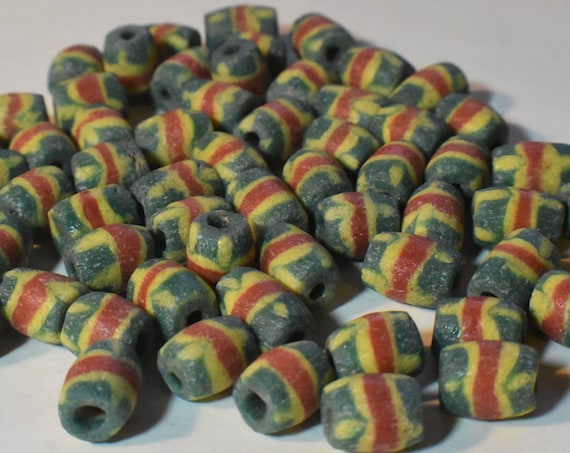 African Ghana vintage sandcast glass trade beads, 1 random group of 10,  from West Coast of Africa, green yellow red