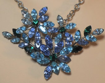 Austrian crystal brooch pendant, light blue and green faceted Austrian floral and leaves rhinestone crystals, marked made in Austria, leaf