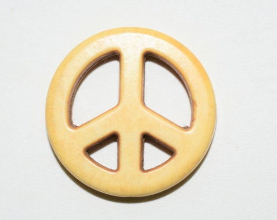 "Bead, ""howlite"" (resin) (imitation), yellow, 25mm peace sign, necklace, charm, pendant, bracelet, handmade gift"