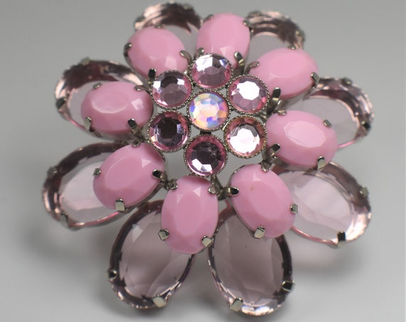 Large floral pink and purple brooch, lucite rhinestones and faceted cabochon petals make this a 3d spectacular brooch statement piece flower