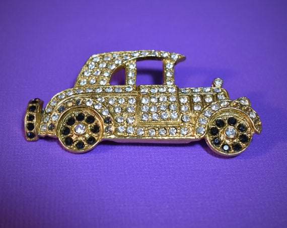 1960's pave rhinestone car brooch, touring car automobile clear and black rhinestones, Ford Model T vehicle.