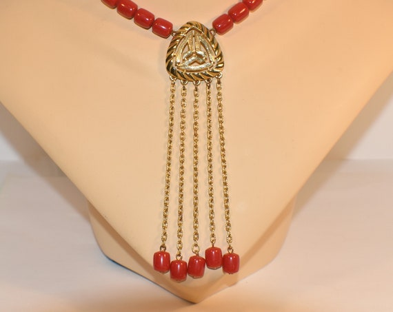 Red beaded necklace choker, goldopen work pendant with dangling beads on shimmery rolo chain, gold spacers, bold, beautiful Chinese wedding