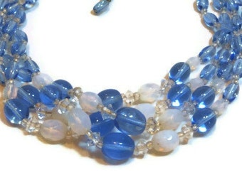 Torsade glass beaded necklace, four strand choker, hand tied necklace, 1940s signed West Germany, blue white, wedding bride