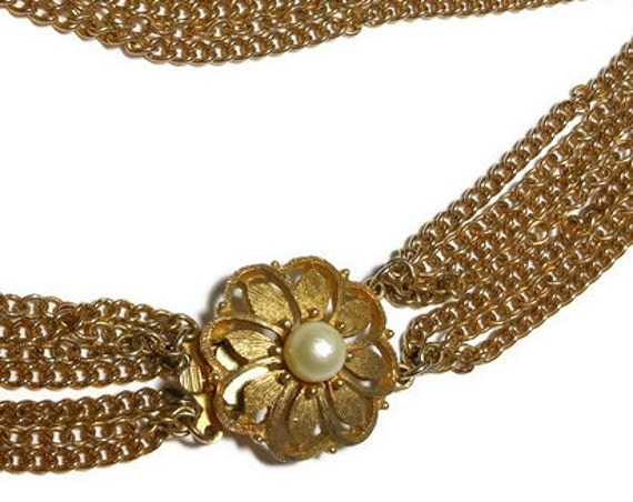 7 strand necklace, long twisted braided chain torsade necklace with pearl floral connector