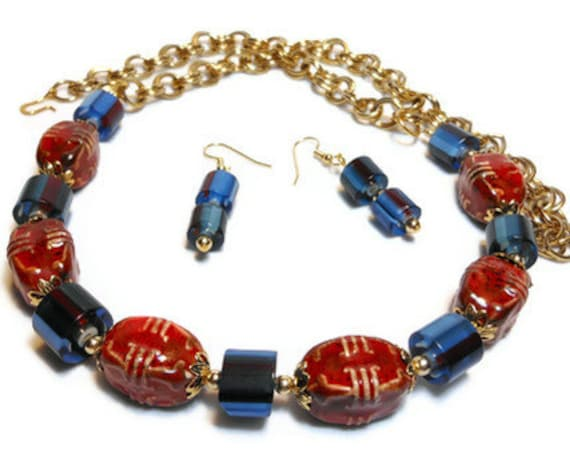 Red blue necklace and earrings red porcelain, blue cane glass , handmade set - demi parure, gold plated findings, french hook