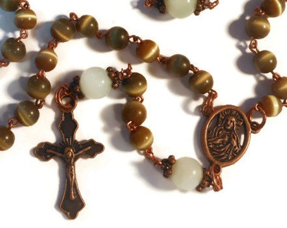 Catholic Rosary 'Reflection' Olive Cat's Eye beads, 'new jade' sea green Our Father's, copper crucifix and center piece, handmade