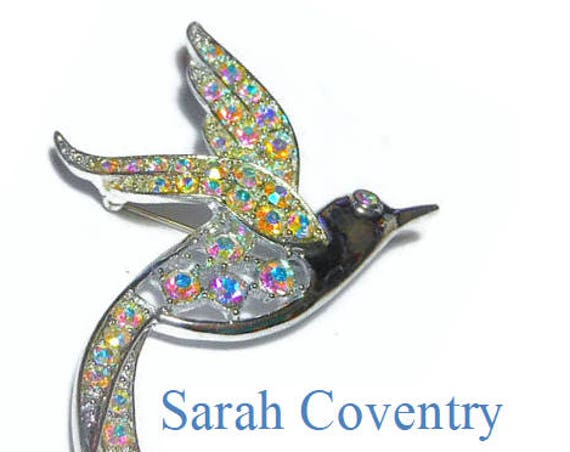 Sarah Coventry bird brooch, Bird of Paradise, 1960 AB Aurora Borealis open work, pave rhinestone