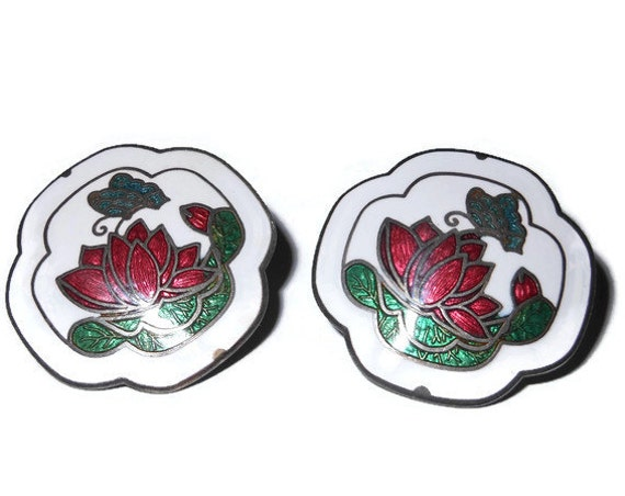 Cloisonne floral earrings, pierced quatrefoil earrings, white enamel with red flower and blue green butterfly, rose peony