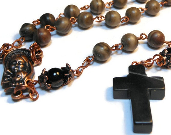 """Catholic rosary """"Silent Night"""" wood grain marble beads with black agate Pater beads, blackstone cross, copper wire and center, handmade"""